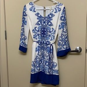 White and blue polyester dress